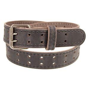 "Mens Buffalo Leather Belt_Double Prong Buckle_1 1/2"" Width_Amish Handmade"