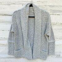 Calvin Klein Jeans Grey Heathered Cardigan Womens sz Small Wool Blend Pockets
