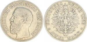 Baden 2 Mark 1876 G Friedrich I s-ss 48580