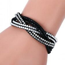 LOVELY LEATHER Slake BRACELET MADE WITH SWAROVSKI CRYSTALS - BLACK CLEAR WOVEN