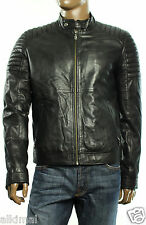 $995 New Mens Versace Jeans Genuine Lambs Leather Black Moto Jacket 48 S