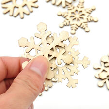 10Pcs Assorted Wooden Snowflake Xmas Tree Hanging Pendant Ornament Decor Gifts
