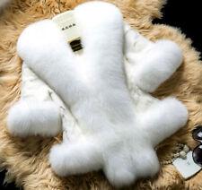 Womens winter wool Jacket faux fox fur collar  short Coat trench parkas outwear