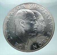 1970 NORWAY KING Olav V Haakon VII Norwegian 25 KR Silver 25 Kronor Coin i82009