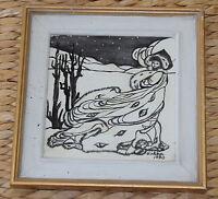 Original Bild Gemälde Winter im Norden Signiert 1990 im Holzrahmen