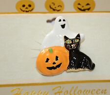 Halloween Ghost w Black Cat & Pumpkin / Pin and/or Pendent / Gold-tone