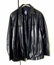 Vtg Black Leather Chaps Ralph Lauren Zip Bomber Leather Jacket Sz M /L