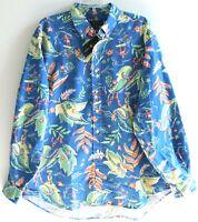Polo Ralph Lauren Big Tall Mens LT Blue Tropical Button-Front Shirt NWT Size LT