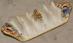 EARLY TO MID 20th CENTURY FLORAL DECORATED TOAST RACK - SWINNERTONS - MINOR A/F