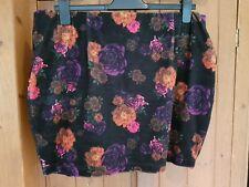 PEACHES PPQ Mini Skirt Black Floral Velvet UK 18 Brand New
