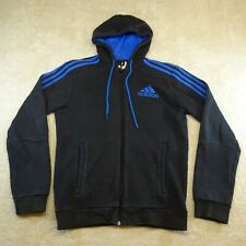Adidas Sweater Adult Small Black Blue Logo Full Zip Pockets Lace Cotton Mens *