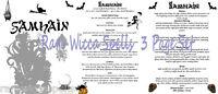 Samhain Halloween Sabbat 3pg set Wicca Book of Shadows Pagan Occult Ritual