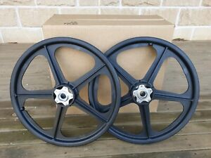 "NOS 80's SKYWAY ALLOY FLANGE BLACK TUFFS 20"" wheel set - old school bmx"