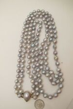Genuine Tahitian Pearl Necklace Double Strand Gray Baroque Salt Water 14K Gold