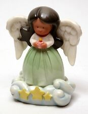 "CloudWorks Little Angels Brown Hair Ebony Hispanic Child & Stars 3.5"" Statue"