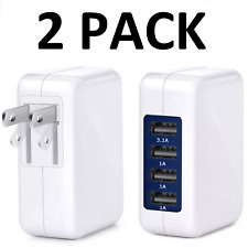 Wall Charger 4 Ports USB Portable 3.1A AC Home Power Adapter -  2 PACK