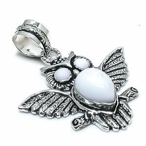 """White Coral Gemstone Handmade 925 Sterling Silver Jewelry Pendant 2.17"""" o903"""