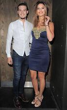 Lipsy Michelle Keegan Bodycon Dress Size 16 Navy Gold Lace Celeb Party BNWT