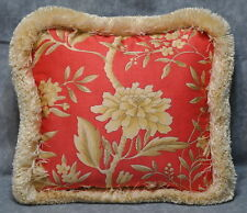 Pillow made w Ralph Lauren Villa Camelia Red Orange Coral Floral Fabric 12x12