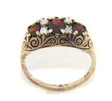 Ladies women's 9ct 9carat yellow gold garnet & opal dress ring UK size N