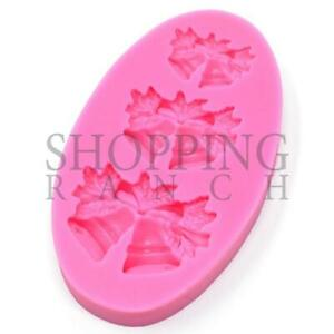 3 Sizes of Christmas Ringing Bells Themed Mould Silicone Fondant Topper