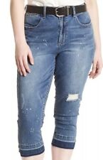 Seven7 NEW Blue Womens 20W Plus Stretch Distressed Skinny Crop Jeans $79