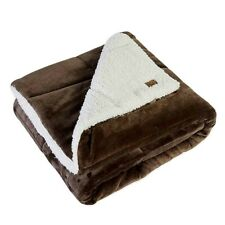 """Ugg Oversized Reversible Throw Blanket in Chocolate Brown 60""""×70"""" New"""