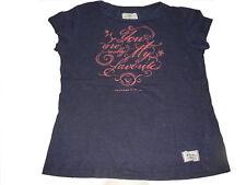 H & M tolles T-Shirt Gr. 128 / 134 blau mit rosa Schriftzugdruck !