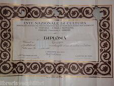 VECCHIO DIPLOMA ENTE NAZIONALE DI CULTURA CORSO A SALERNO 1926 ATTESTATO SCUOLA