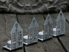 Set di 4 in metallo Rustico Casa di Tè Leggero Portacandele Decorazione Di Natale Avvento
