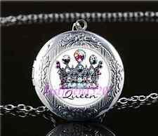 Royal Crown Queen Cabochon Glass Tibet Silver Locket Pendant Necklace