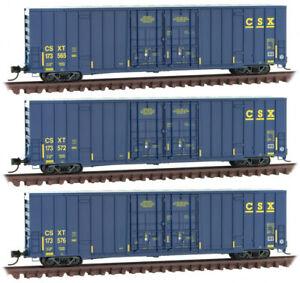 Micro-Trains MTL N-Scale 60' Rib Side High Cube Box Cars CSX - Runner 3-Pack