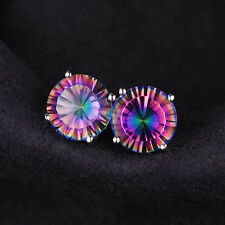 5mm  Genuine Round Mystic/Rainbow Topaz and Sterling Silver Stud Earrings