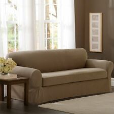 Maytex Smart Cover Stretch 1-Piece Slipcover Loveseat, Chocolate