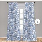 FOUR+window+treatments+curtains+drapes+blue+long+new+darkening+blackout+panels