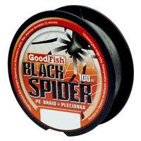 (0,10€/m) 100m GOODFISH BLACK SPIDER BRAID LINE, GEFLOCHTENE SCHNUR, ANGELSCHNUR