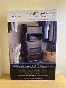 Mainstays 4 Cube/Shelf Modular Closet Storage With Lid Black New