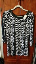 MESMERIZE Women's Top Sz L Back Zip Navy Blue Patterned Print NWT