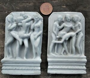 Two Small Erotic Indian wall plaques hangings made of cement indoor or outdoor