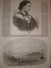 Late opera singer Giulia Grisi & naval regatta at Aden 1869 old prints