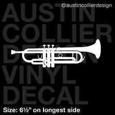 "6.5"" TRUMPET vinyl decal car window laptop sticker - marching jazz band"