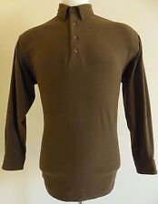 LL Bean FLEECE Shirt Large MENS Brown L Sweater VINTAGE Sz USA Size OLIVE Polo**