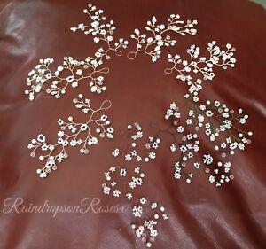 Wedding Hair Vine Sprigs baby's breath Gypsophila hairpieces boho bridesmaids x3
