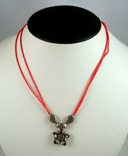Red Glass Bead Necklace with Sterling Silver Flower Pendant