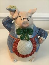 """Rare 1987 Fitz & Floyd """"Bacon and Eggs� Discontinued Cookie Jar Chef Pig Japan"""