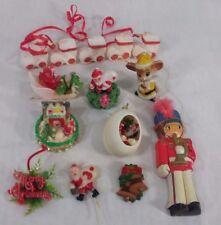 Lot of 14 vintage felt, plastic Christmas ornaments