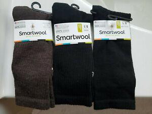 Smartwool socks 3 pair Size large 2pr black 1 pair chesnut brown retail $20.95ea