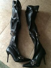 Ellie Black Thigh High Boots Size 6 NEW