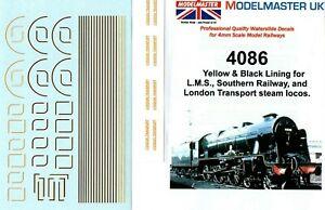 MODELMASTER 4086 YELLOW / BLACK LINING DECALS TRANSFERS LT LMS & SR STEAM LOCOS