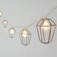 10 Rose Gold Mini Cage Lantern String Lights With Diamond Shaped LED Bulbs Xmas
